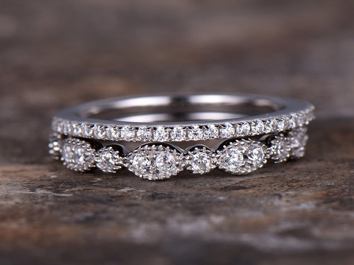 2pcs half eternity wedding ring set,925 sterling silver wedding band,white gold plated,,marquise ring,thin stacking band кольцо s j063 wedding band ring