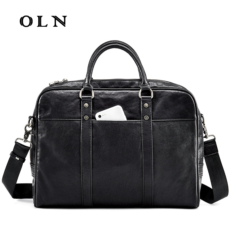 OLN 2018 Famous Brand Men Cowhide Handbag Genuine Leather Bag Business Men Shoulder Bags Luxury Men Briefcase Laptop Bag стоимость
