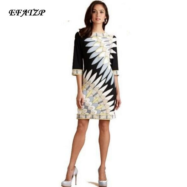 Runway High Street Fashion Women s 3 4 Sleeve Print Signature Day dress Jersey Silk Stretch