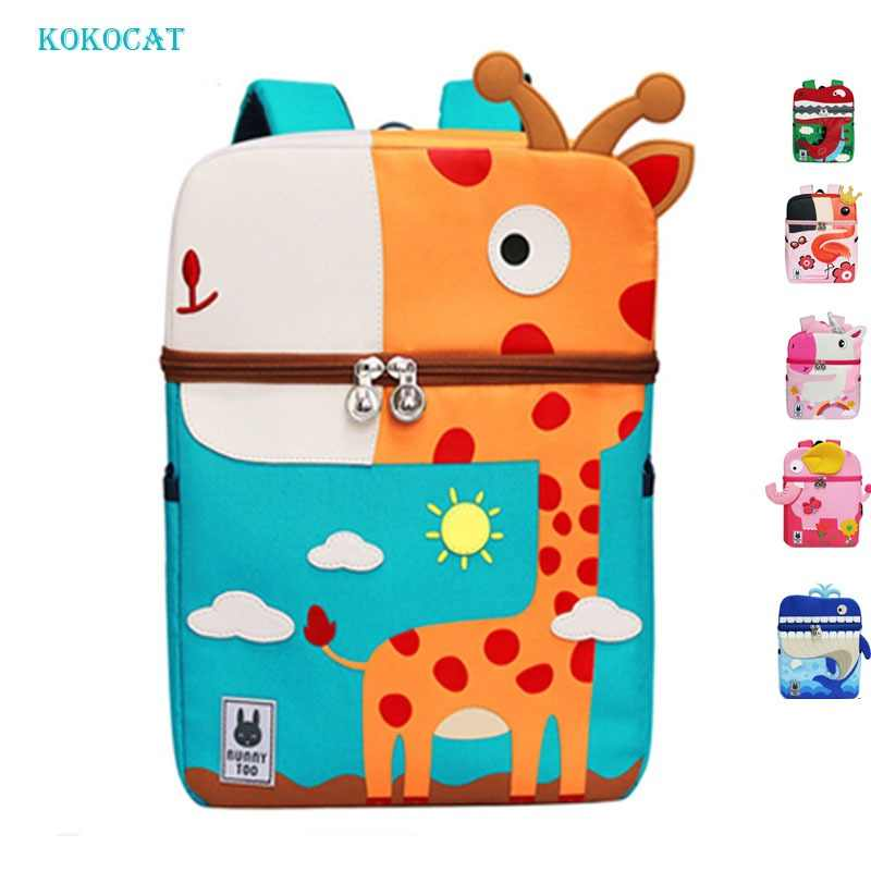 Kid Backpack Cute 3D Cartoon Dinosaur Anti-lost Unicorn Printed Kindergarten orthopedic School Bag for Girl Boy Children Mochila