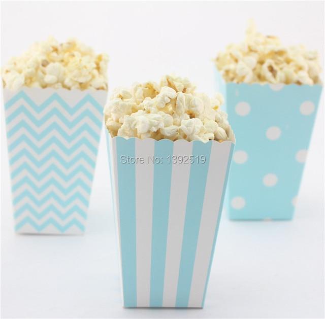 Free Ship 36pcs Blue Snack Box Baby Shower Decoration Popcorn Boxes