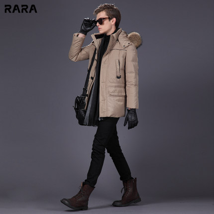 2015 Thicken Warm Men Down jacket Coat Parkas Cold Outerwear Hooded Plus Size 3XXXL Leisure Slim Long Raccoon Fur collar