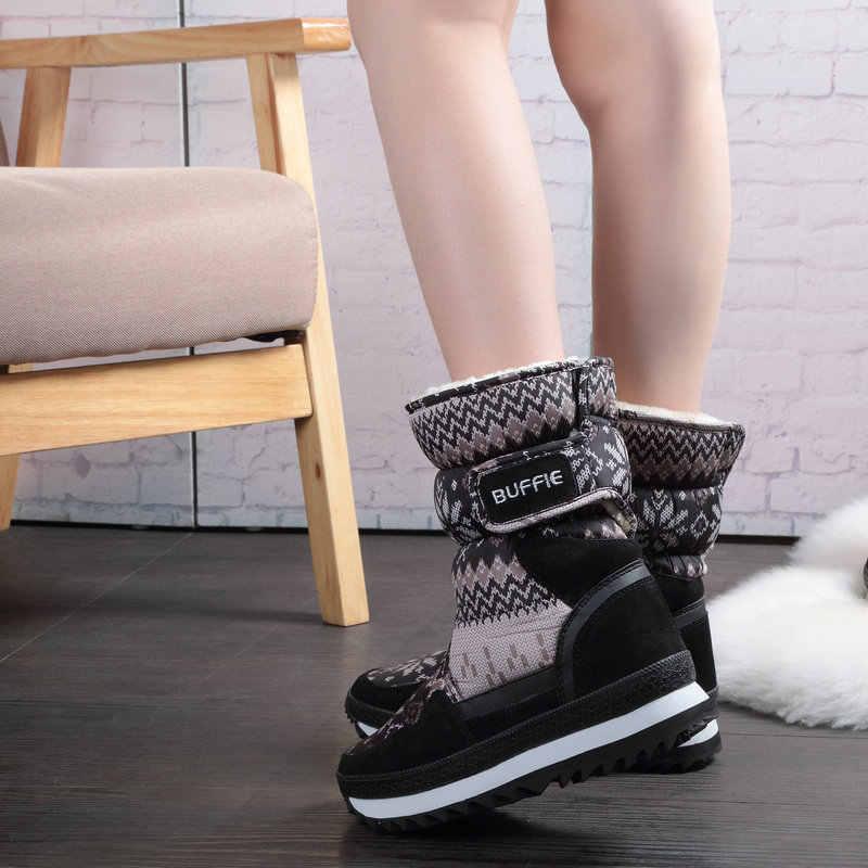 Buffie Kış Kadın çizmeler gri renk kar botu sıcak peluş kürk büyük tam boy inek süet deri bağlama Ayakkabı ücretsiz kargo en iyi
