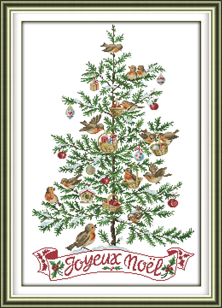 Joy Sunday The Christmas tree and birds cross stitch pattern kits handcraft make embroidery with chart