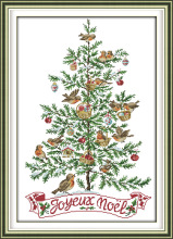 Joy Sunday The Christmas tree and birds cross stitch pattern kits handcraft make embroidery with chart