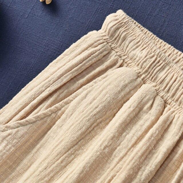 Johnature New Style Casual Cotton Linen Women Shorts 2021 Summer New Solid Elastic Waist Women Shorts Wide Leg Shorts 6
