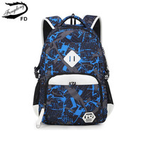 FengDong Orthopedic Blue Orthopedic School Bag For Men Boys School Backpack Kids Gifts Children Backpacks Girl