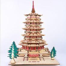 Красивая деревянная модель 3d строительных моделей игрушки головоломки