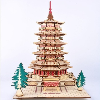 beautiful Wooden Simulation of 3d building models DIY puzzle toys Birthday present