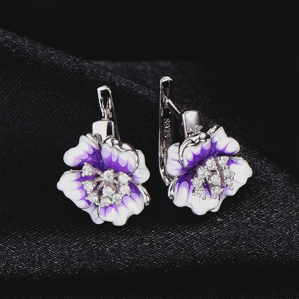 RainMarch Enamel Flower Earring Silver For Women Handmade 925 Sterling Silver Earring Cubic Zirconia Wedding Party Jewelry hot brand pure 925 sterling silver jewelry for women gifts bowknot earring 5a cubic zirconia bowknot stud earring party jewelry