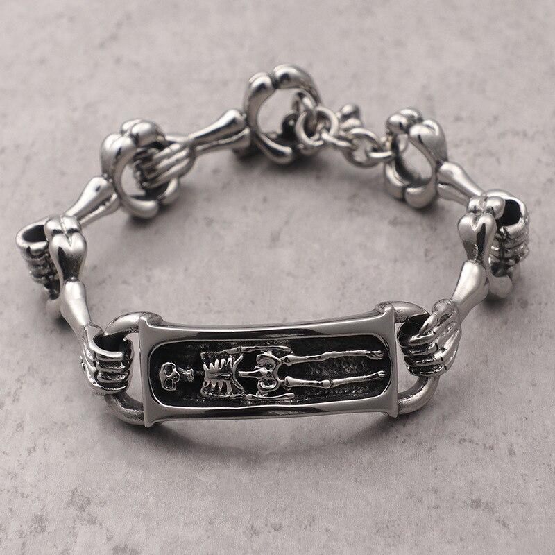 New tide male jewelry Domineering exaggerated personality punk skull titanium steel men's bracelet