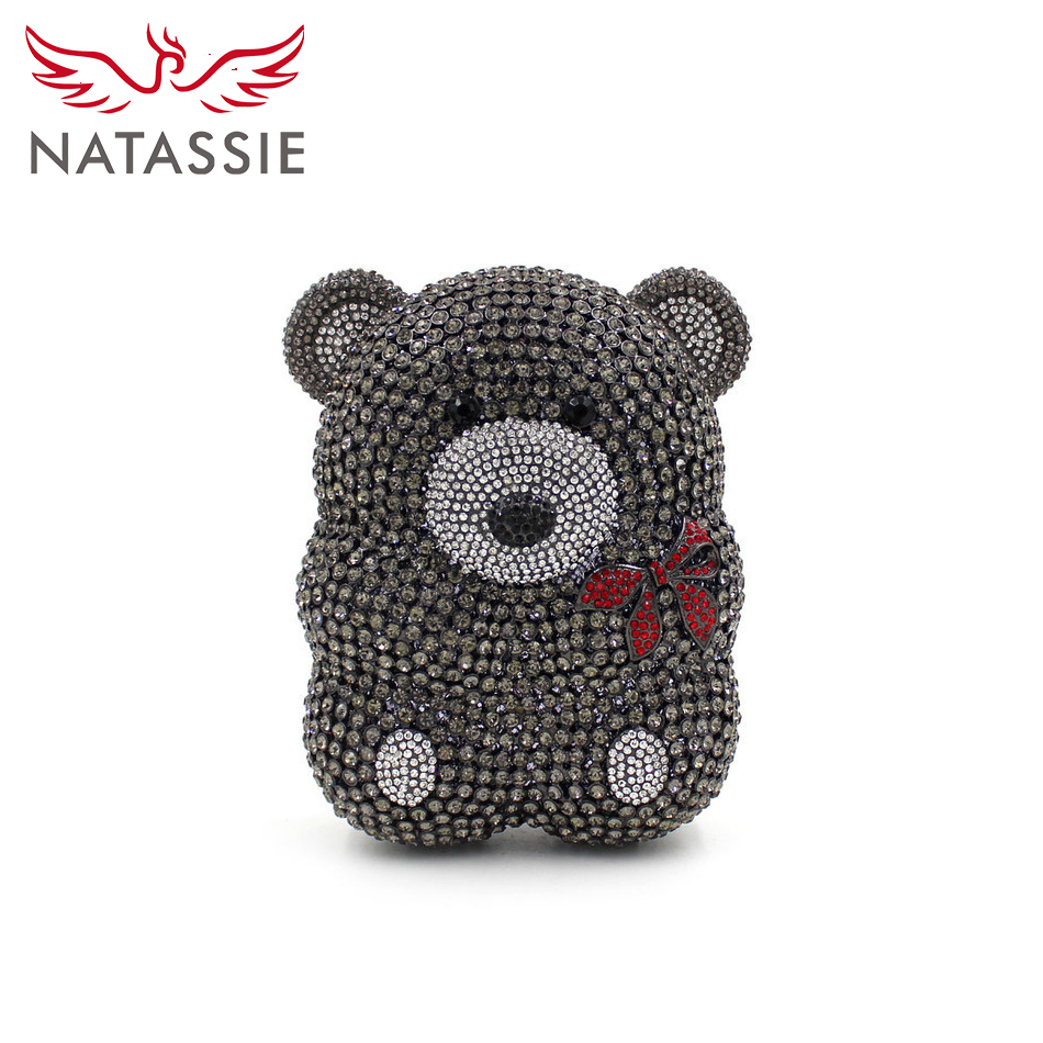 NATASSIE Women Evening Bags Ladies Crystal Clutches Animal Shape Black Party Bag Female Wedding Purses natassie women evening bags ladies crystal wedding clutch bag female party clutches purses