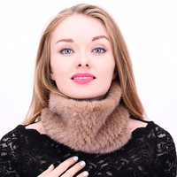 Real Mink Fur Scarf Hat Women Winter Knitted Fur Headband Ring Collar Natural Elastic Warm Hat Fashion Genuine Mink Scarve mz036