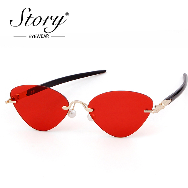 cf8cfc741d473 STORY Brand Rimless Cat Eye Sunglasses Brand Designer Triangle Black Red  Lens Clear Sun Glasses Eyewear
