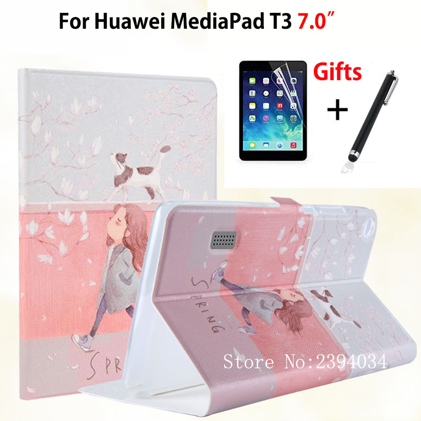 Slim Fashion Case for Huawei MediaPad T3 7.0 BG2-W09 Smart Cover Stand Funda TPU + PU Leather for Honor Play Pad 2 7.0 +Film+Pen folio slim cover case for huawei mediapad t3 7 0 bg2 w09 tablet for honor play pad 2 7 0 protective cover skin free gift