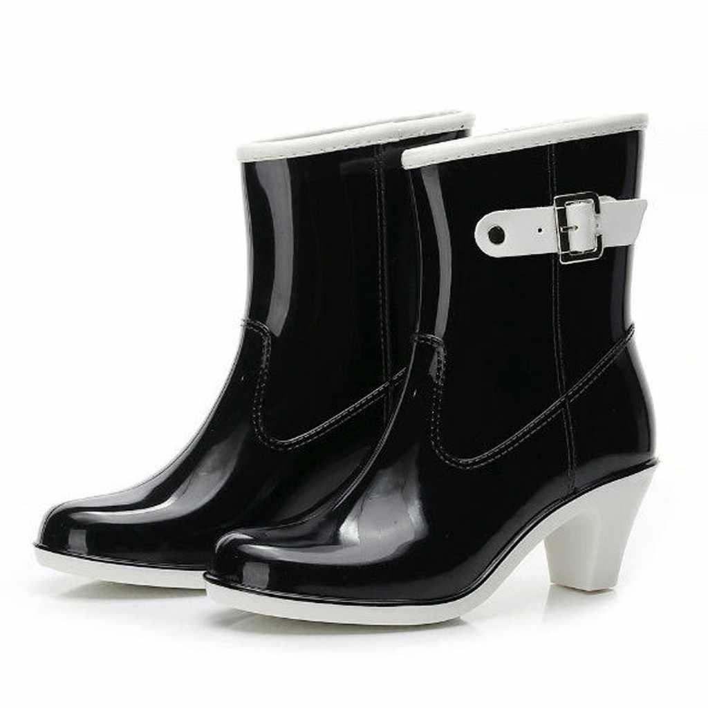 2019 neue Freizeit regen stiefel frauen Niedrigen Absätzen Runde Kappe Schuhe Wasserdicht Mittel Rohr Regen Stiefel chaussures femmes 7,8