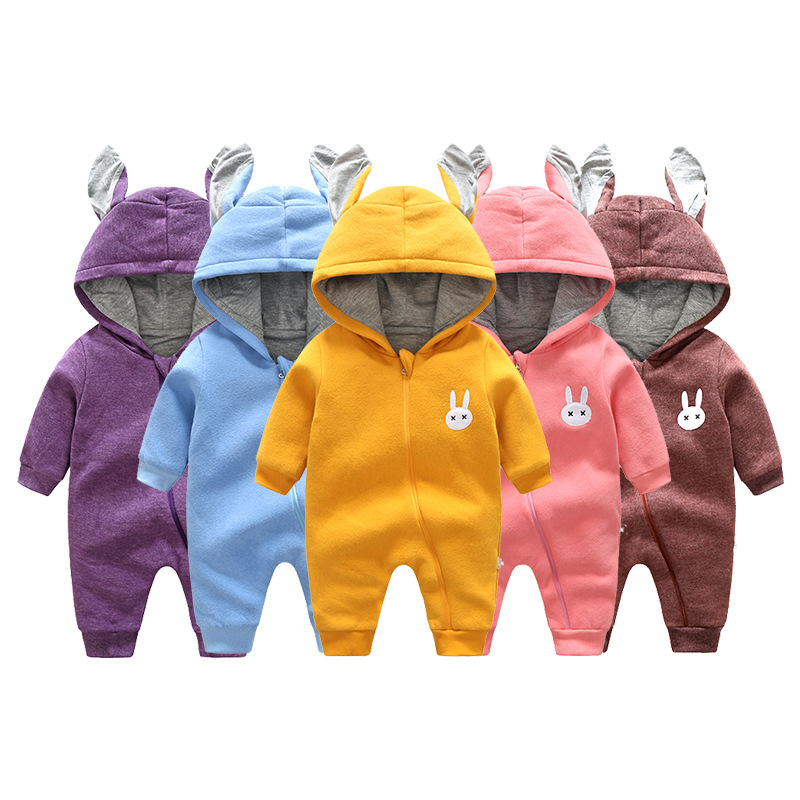 Winter Baby Rompers Plus Velvet Cartoon Hooded Newborn Baby Clothes Cotton Rabbit Ears Infant Girl Clothing Toddler Costumes puseky 2017 infant romper baby boys girls jumpsuit newborn bebe clothing hooded toddler baby clothes cute panda romper costumes