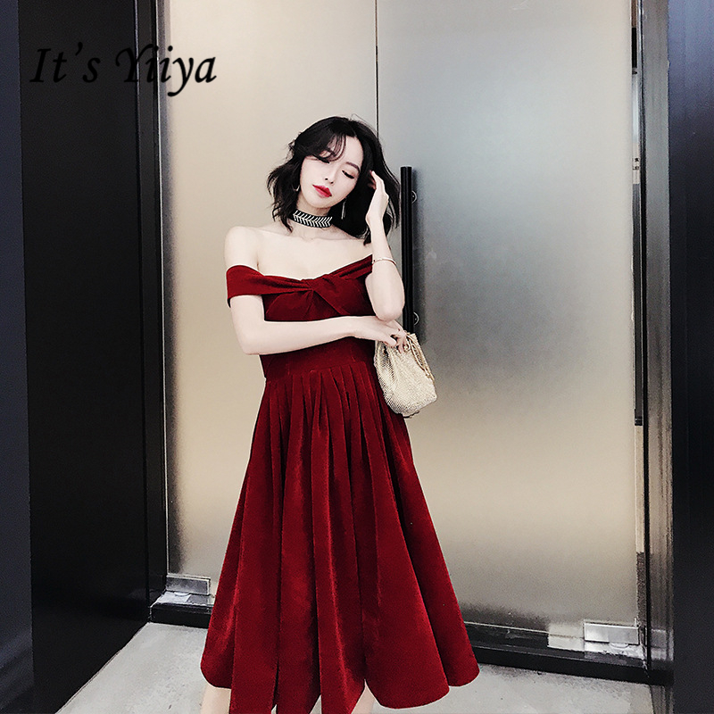 It's YiiYa   Cocktail     Dresses   Sexy Boat neck Criss-cross Wedding Party   Dress   Wine Red Pleat Off Shoulder Formal Gowns E362