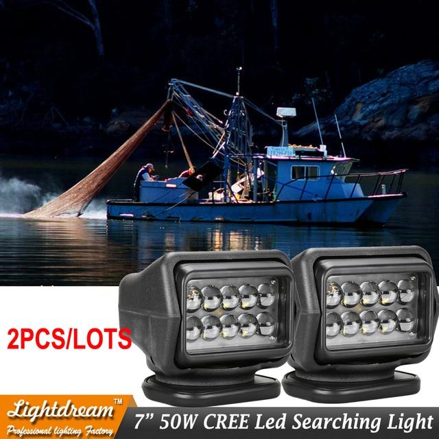 12V 24V Remote control LED Searchlight 50W Spotlight LED Work Light For TRUCK SUV BOAT MARINE driving light x2pcs free shipping