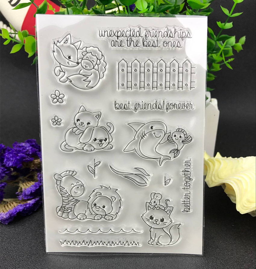 Best friend Transparent Clear Silicone Stamp/Seal for DIY scrapbooking/photo album Decorative clear stamp sheets lovely animals and ballon design transparent clear silicone stamp for diy scrapbooking photo album clear stamp cl 278