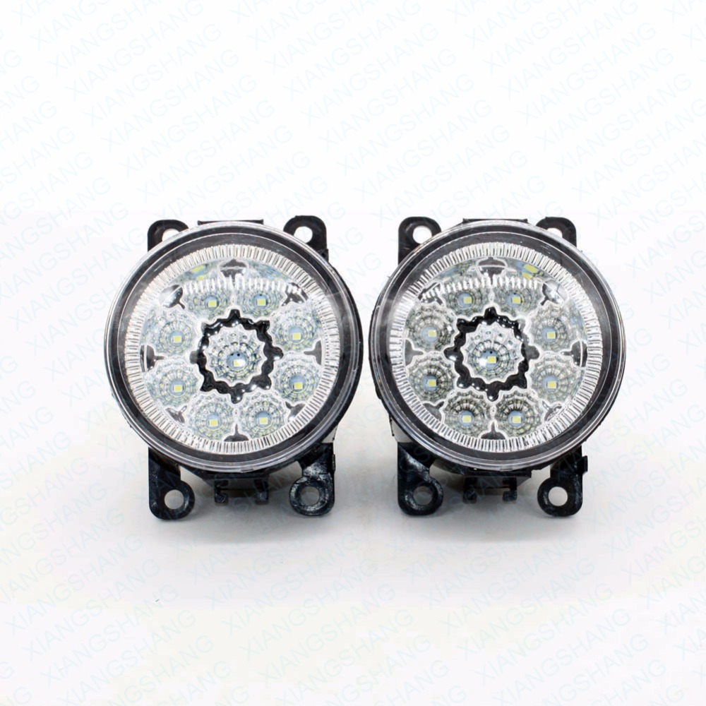 2pcs Car Styling Round Front Bumper LED Fog Lights DRL Daytime Running Driving  For Renault Koleos HY 2008 2012 2013 2014 2015 led front fog lights for opel corsa d 2006 2013 2014 2015 car styling round bumper drl daytime running driving fog lamps