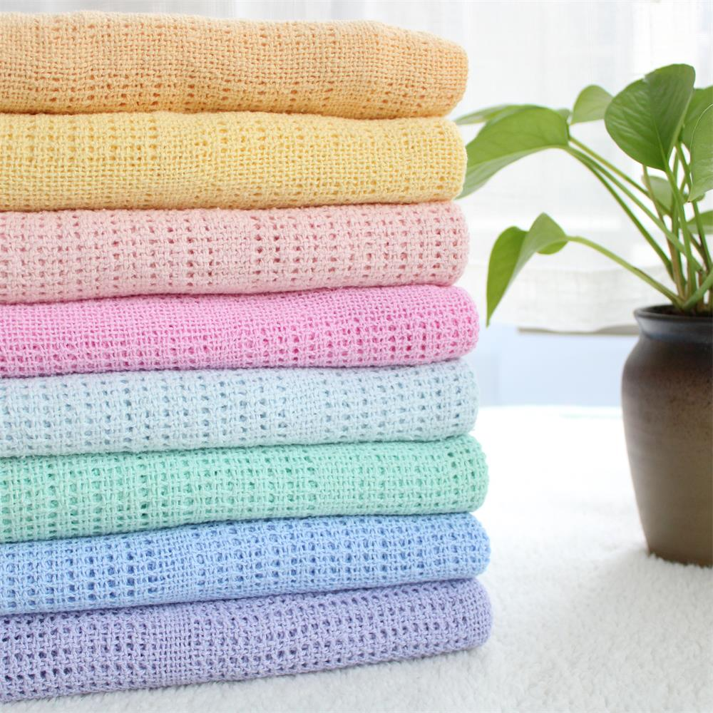 90X120cm Cotton Knitted Hollow Crochet Thin Newborn Swaddle Baby Knitted Blanket Toddler Kids Back Seat Cover Summer Crib Cover
