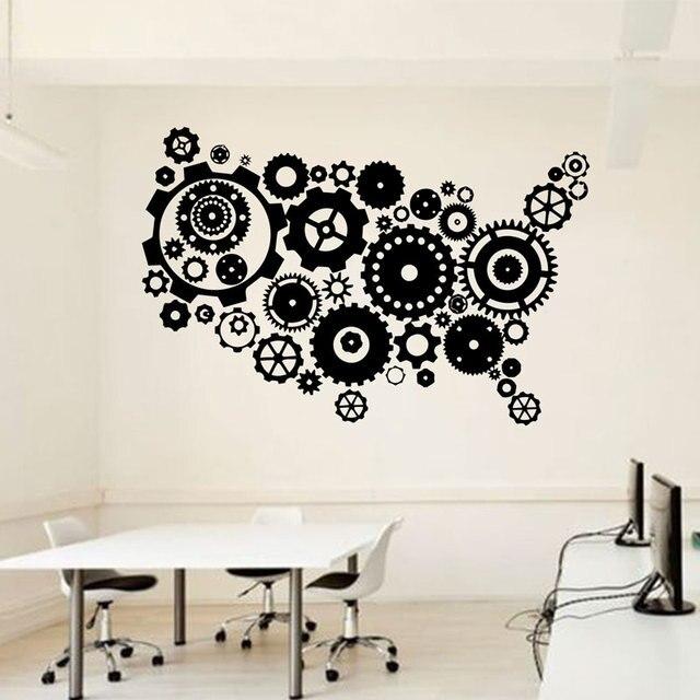 Bureau Usa Carte Sticker Mural Idée Travail En équipe Ouvrier