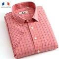 Langmeng 2016 Men Fashion plaid casual shirt Brand New 100% Cotton Mens dress Shirts Male Clothing Short Sleeve red blue white