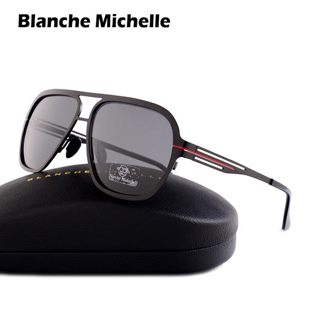 Blanche Michelle 2018 High Quality Fashion Polarized sunglasses Men UV400 Pilot Sunglass Stainless Steel Sun Glasses With Box