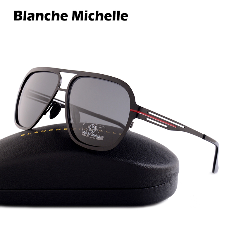 Blanche Michelle 2019 High Quality Stainless Steel Polarized sunglasses Men UV400 Square Sun Glasses lunette soleil homme-in Men's Sunglasses from Apparel Accessories