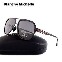 Blanche Michelle 2019 Polarizada óculos de sol Dos Homens de Aço Inoxidável de Alta Qualidade UV400 Quadrados Óculos de Sol luneta soleil homme