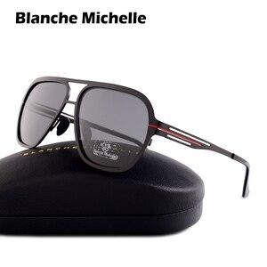 Image 1 - Blanche Michelle 2019 Yüksek Kalite Paslanmaz Çelik Polarize güneş gözlüğü Erkekler UV400 Kare güneş gözlüğü lunette soleil homme
