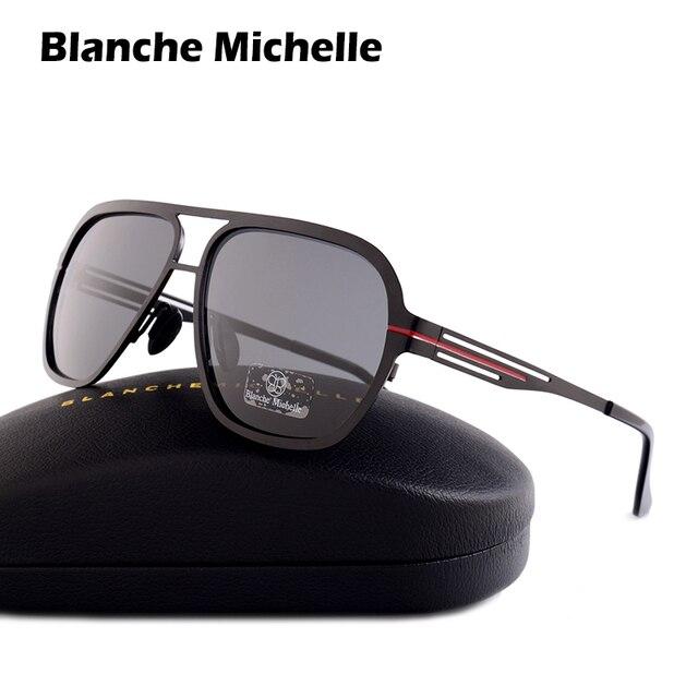 Blanche Michelle 2019 Yüksek Kalite Paslanmaz Çelik Polarize güneş gözlüğü Erkekler UV400 Kare güneş gözlüğü lunette soleil homme