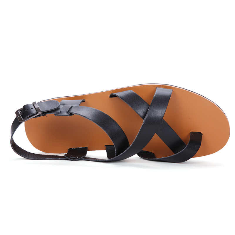 e0c02dbd6 ... Hombres Sandalias casual verano playa correa del tobillo del cuero de  gladiador cruzado Zapatos hombres Romanos ...