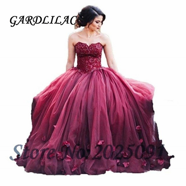 a53b1e735 Burgundy Quinceanera Dresses Ball Gown 2019 Tulle Lace Appliques Vestidos  de 15 Anos Puffy Sweet 16 Prom Dress Long