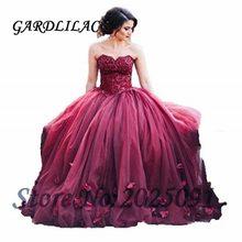 Borgonha quinceanera vestidos bola gown2021 tule rendas apliques vestidos de 15 anos inchado doce 16 vestido de baile longo