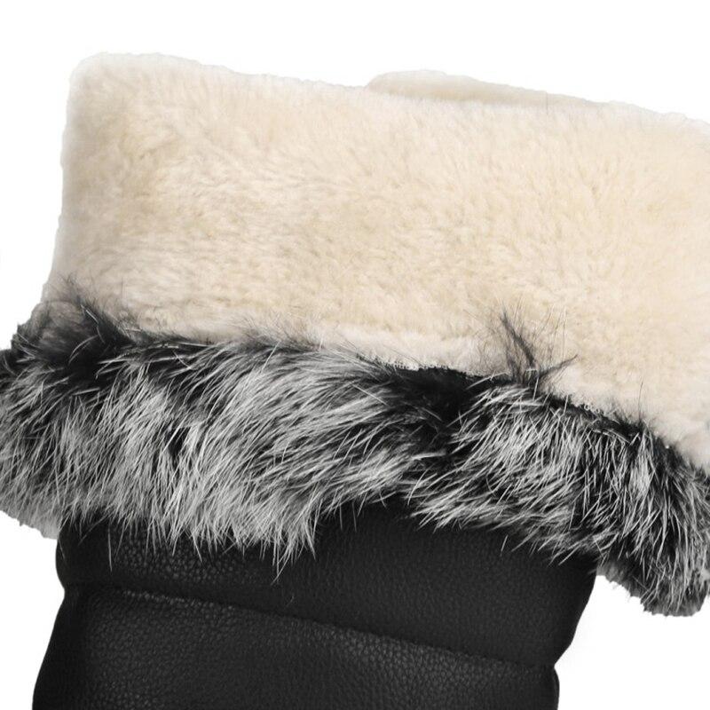 Zapatos La Nieve Conejo Caliente Piel Pantorrilla Black white Botte Feminina Asileto A793 De Mujer Pu Calzado Cuero Botas Mitad pqS8fnxIw8