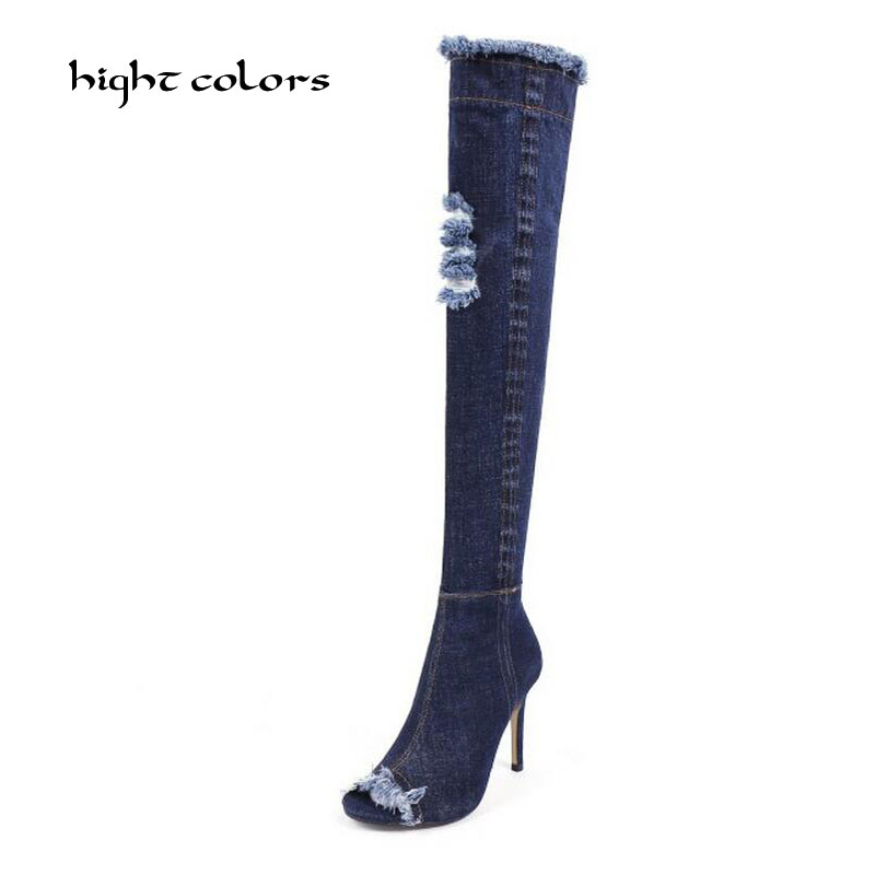 hight colors Plus Size Pointed Toe Women Spring Autumn High Heels Denim Knee High Boots Lady 2017 New Fashion Jean Long Boots new 2017 spring summer women shoes pointed toe high quality brand fashion womens flats ladies plus size 41 sweet flock t179