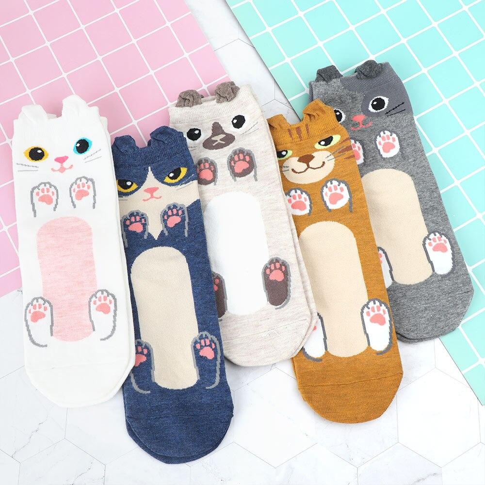Fashion Women Girls Stripe Dot Cotton Ankle Socks Cartoon Paw Short Socks Winter
