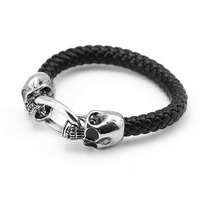 10 Pcs Fashion Men Jewelry Punk Style Skeleton Woven Braided Leather Rope Bracelet Stainless Steel Magnetic