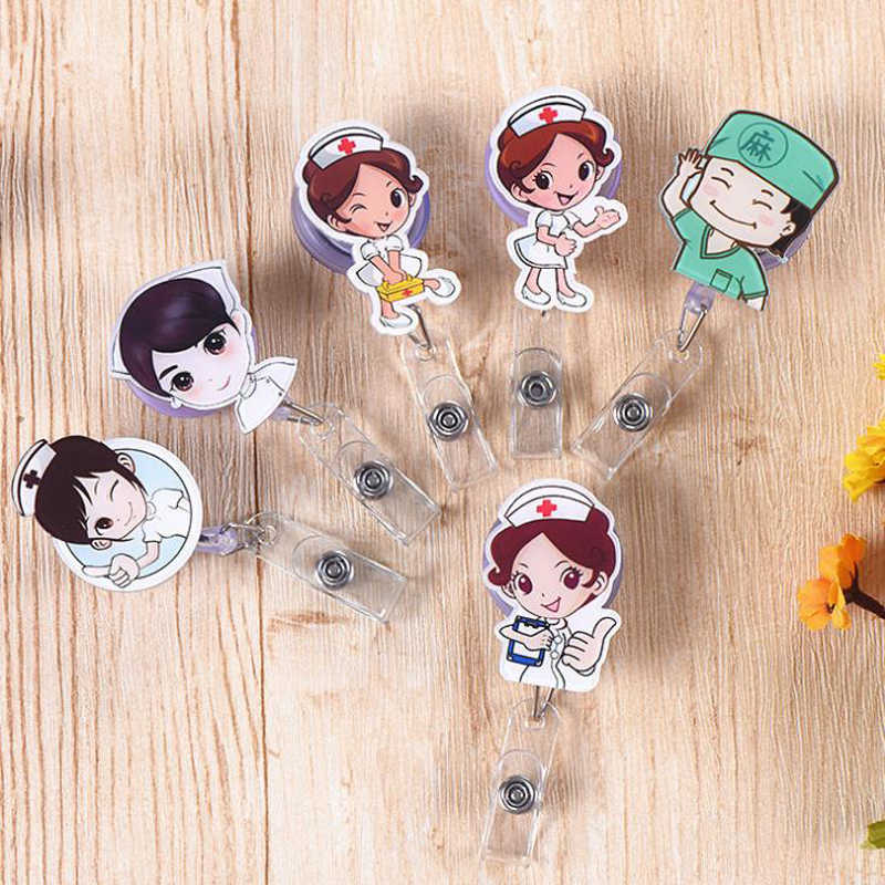 1 Pcs Cartoon Mini Retractable Badge Reel Doctor Nurse Lanyards ID Name Card Clip Student Nurse Badge Holders Stationery