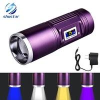 Akumulator Latarka 8000 Lumenów CREE-Q5 x 4 Wędkowanie latarka niebieski/fioletowy/żółty/white light 12 modele Użytkowania DC ładowarka