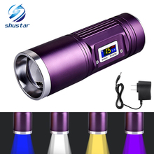 Rechargeable Fishing LED flashlight 4 x Q5 LED waterproof torch blue/purple/yellow/white light 12 modes with DC charger цена