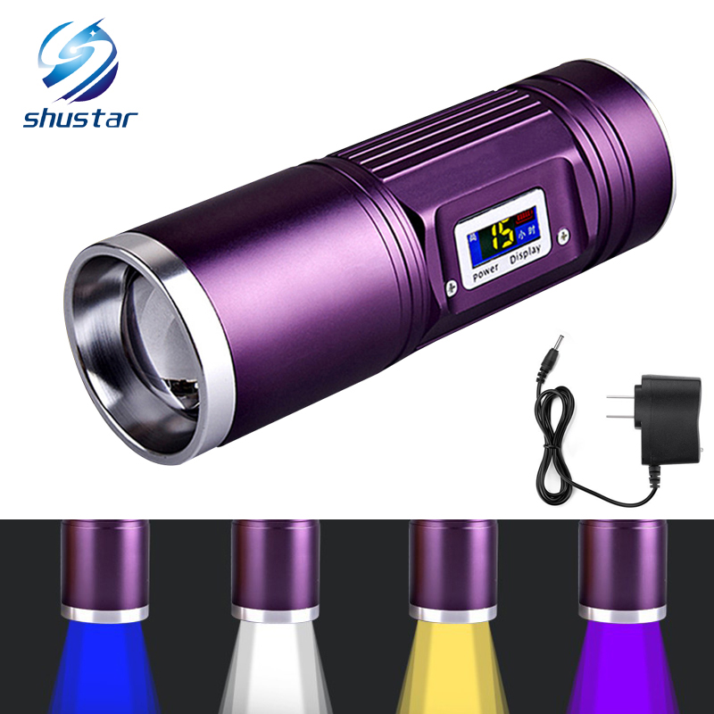 Rechargeable Torch 8000 Lumens CREE-Q5 x 4 Fishing flashlight blue/purple/yellow/white light 12 models Use DC charger white purple yellow light led flashlight stainless steel torch 18650 rechargeable uv torch olight jade identification