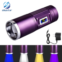 Rechargeable Torch 8000 Lumens CREE Q5 X 4 Fishing Flashlight Blue Purple Yellow White Light 12