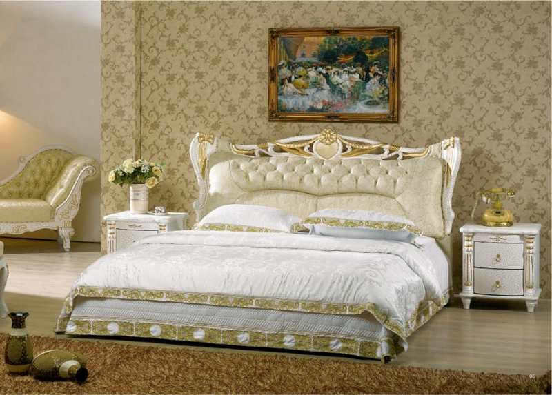 Diamond tufted french contemporary modern leather sleeping - King size contemporary bedroom sets ...