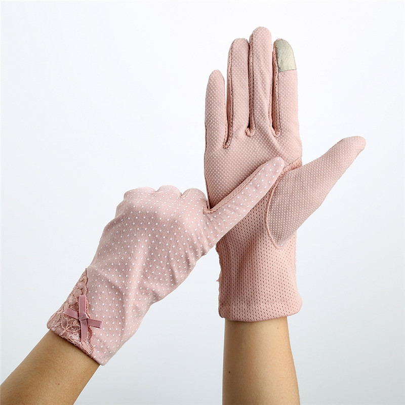 Howfits Women Summer Sunscreen Gloves Driving Girls Thin Cotton Decent Lace Sun Protection Touch Screen Mittens
