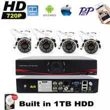 Home Security 4CH 960H HDMI DVR 4PCS 720P Outdoor CCTV Camera System 8 Channel Video Surveillance Kit With 1TB HDD
