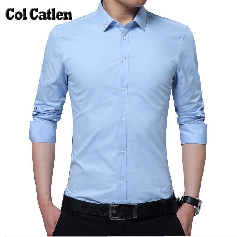 fac1897c87 New Brand Men Shirts Dress Chemise Cotton Long Sleeve Men s Social Shirt Slim  Fit Solid Color
