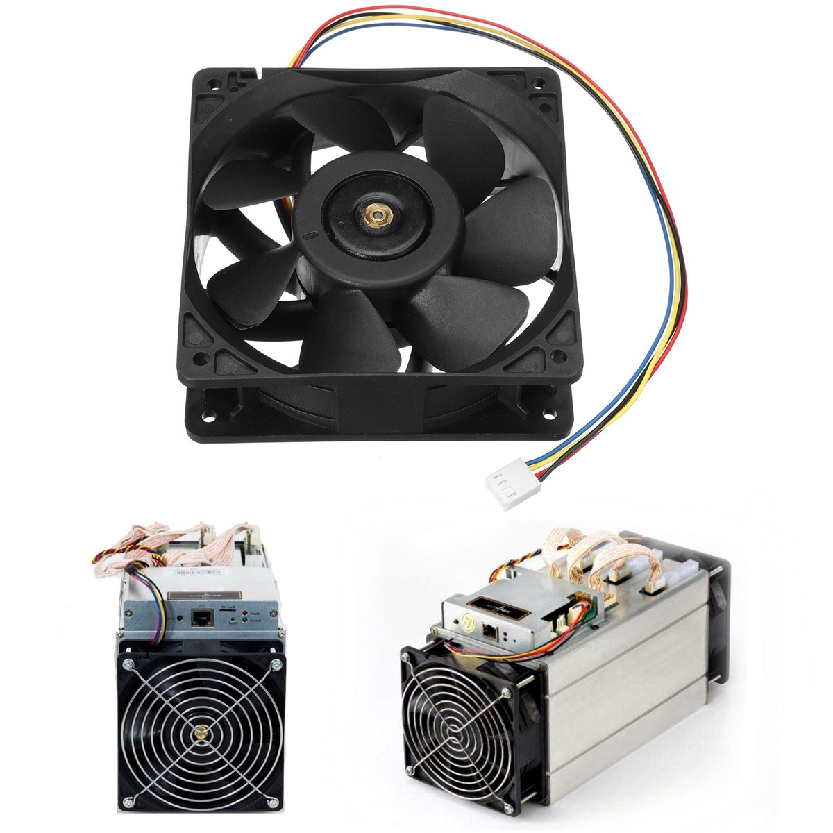 Cooling Fan 12V 2.7A 6000RPM Cooling Fan Replacement 4-Wire Connector For Antminer S7 S9 a3c40094788 delta afc0712de 7k1m 38010022 double ball 4 wire pwm12v cooling fan for fujitsu for siemens for primergy rx300 s5 s6